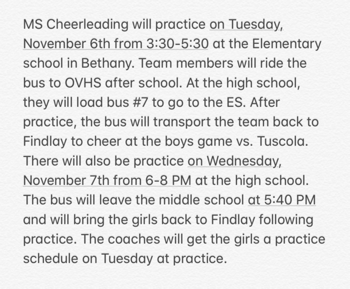 MS Cheer Announcement 11-5-18