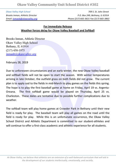 Baseball/softball delay 2019
