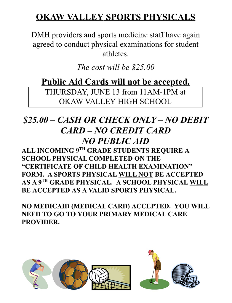 Sports physicals 2019