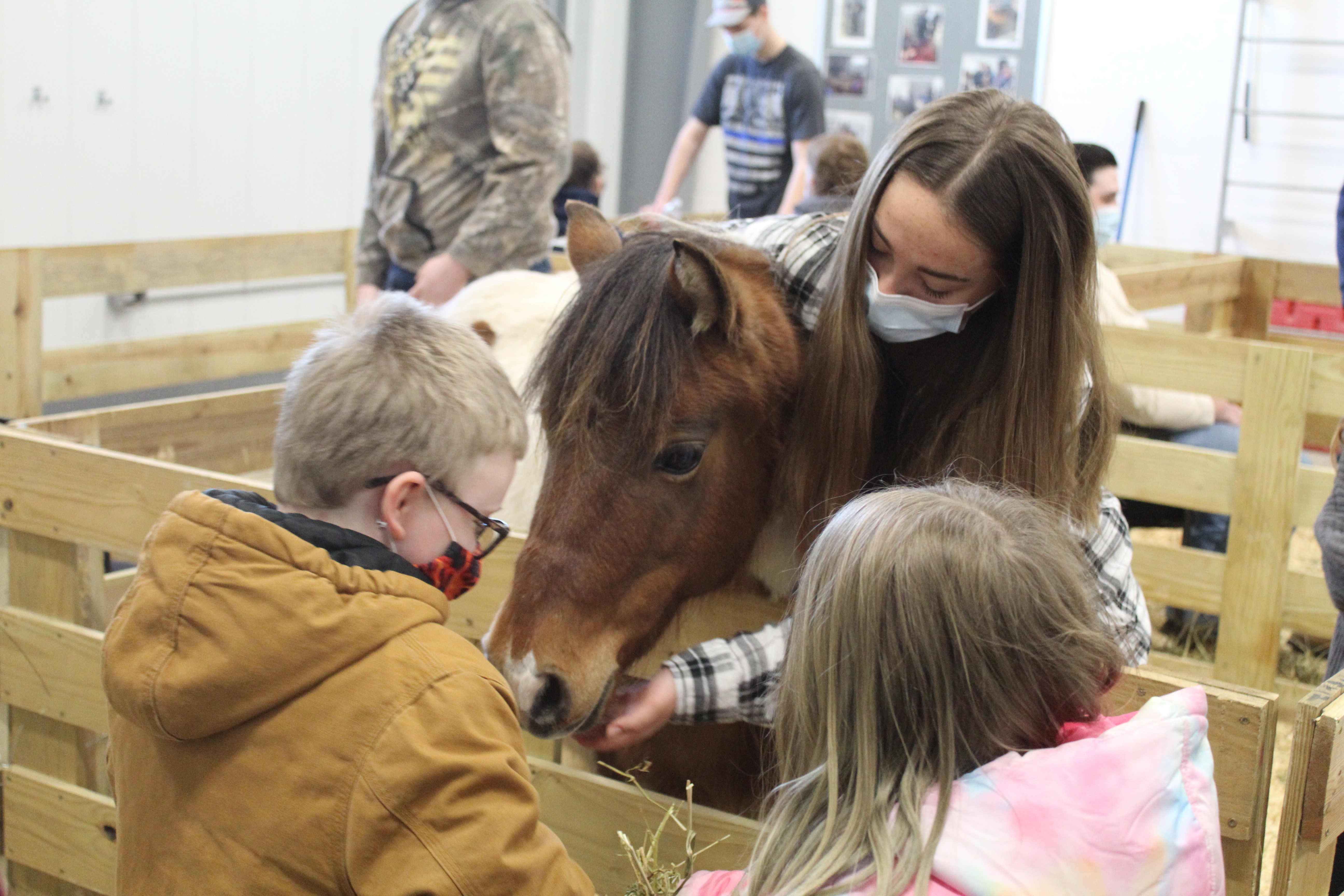 students with pony